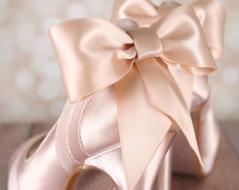 Wedding Shoes, Blush Wedding Shoes, Peep Toe Shoes, Blush Bridal Accessories, Bow Wedding Shoes, Satin Shoes, Custom Wedding Shoes