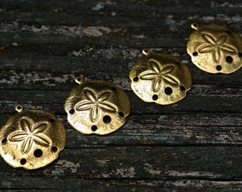 Antiqued Gold Brass Sand Dollar Charms Pendants, Brass Charms