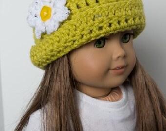 "18"" Doll Crocheted BEANIE with DAISY.  Crocheted.  Doll hat.  Winter.  Accessories. Hat. Crocheted doll hat. Fits American Girl Doll."