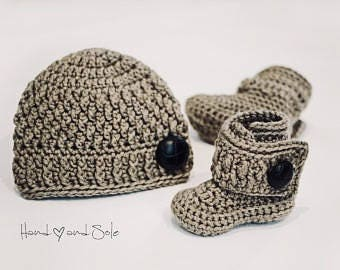 Crochet Hat Pattern and Crochet Booties Pattern, Crochet Baby Hat Pattern and Baby Booties Pattern for New Baby Boy, Pdf Pattern