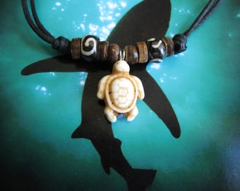 "Sea Turtle Necklace, Adjustable cord to 26"""
