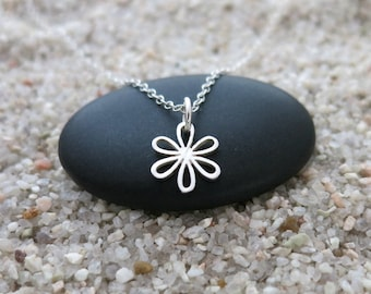 Tiny Daisy Necklace, Sterling Silver Daisy Charm, Nature Jewelry