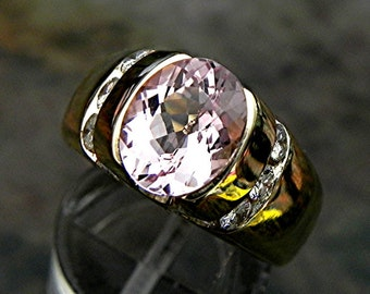 AAAA Peach Pink Morganite   10x8mm  2.45 Carats   14K  Yellow Gold ring with .65 ct diamonds 1622