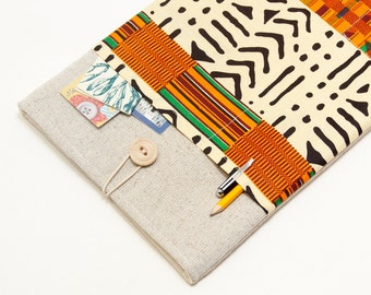 "30% OFF SALE White Linen MacBook 11"" Case with African kente style pocket. Case for MacBook 11 Air. Sleeve for MacBook Air 11 inch"
