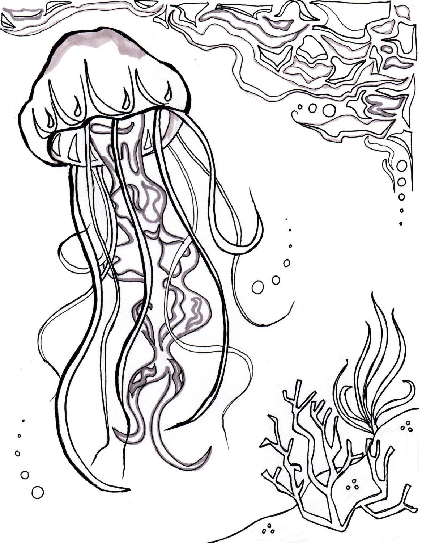 Medusas océano océano para colorear hoja arte acuático
