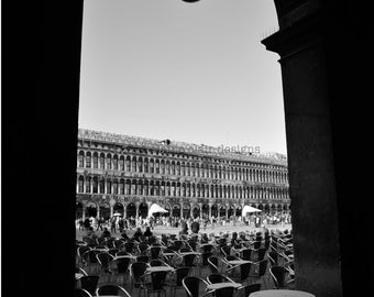 St. Marks Square.  Venice, Wall Art, Black and White Photography, Italy