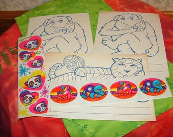vintage 1989 Lisa Frank STICKERS  and 1980 Puffin postcards