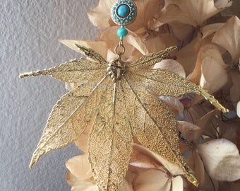 Gold Japanese Maple Electroplated Leaf Christmas Ornament by Denise Sloan