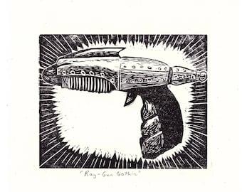 Retro Ray-Gun Handmade Linocut Print | Perfect for Science Fiction Lovers