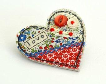 Red love heart brooch, heart pin, heart badge, fabric heart brooch, textile heart brooch, red love heart,  valentine brooch, valentines gift