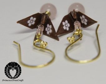 Origami Crane Jewelry, Origami Crane Earrings - Brown and pink