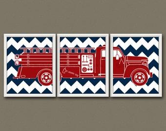 FIRE TRUCK - Trucks, Truck Prints, Fire Truck Art, Baby Shower, Baby Boy, Toddler Boy, Fire Engine, Vintage, Firefighter, Firefighter Gift