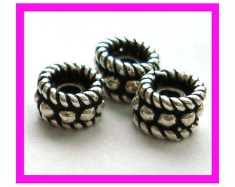20 small rope Rondelle Bali Sterling Silver Spacers 5mm S74