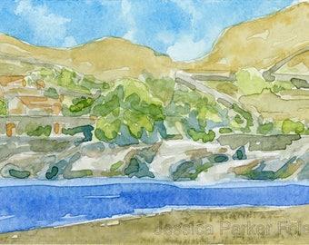 Watercolor Giclée Print - Greek Seaside Port Landscape Painting