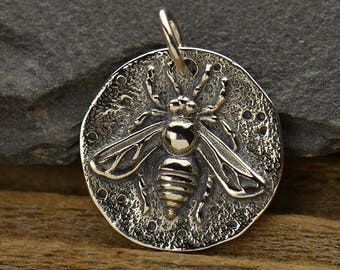 Ancient Bee Coin Pendant Necklace - Solid 925 Sterling Silver Auspicious Feng Shui - Insurance Included