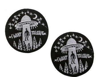 I want to believe alien spaceship Embroidered Iron on Patch Applique IW0520