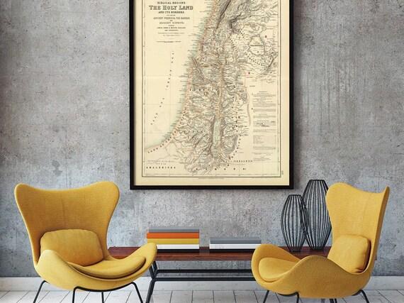 Holy Land map 1872 Map of Palestine Biblical Regions Antique Restoration Style Jerusalem Wall Map Vintage Map Home Decor housewarming Gift