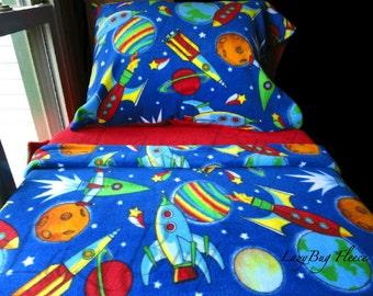 Space Rockets Bedding Toddler Fleece Bed Set for Boys. Fits Crib & Toddler Beds