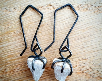 Raw Quartz Crystal Drop Earrings Raw Quartz Earrings Dangle Earrings Oxidized Sterling Silver Rustic Gothic Earrings Raw Stone Earrings