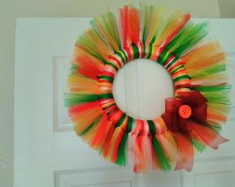 Rainbow color Tulle inspired wreath
