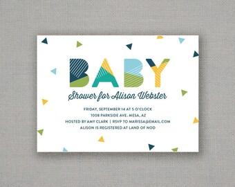 Baby Shower Invitation // Boy // Geometric // Confetti // Modern // Color Block