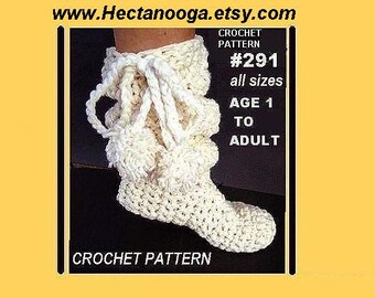 CROCHET PATTERN -- Slippers - Handmade Pattern - num. 291- Slouchie Boot Slippers Pattern -  from age 1 to adult, ankle high, knee high