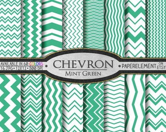 Mint Green Chevron Digital Paper Pack - Instant Download - Digital Scrapbook Paper with Chevron Stripe
