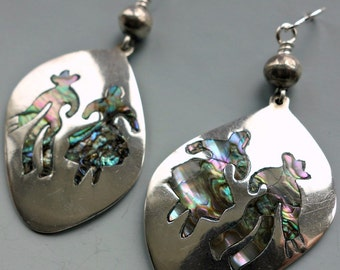 Dancing Abalone Sterling Vintage Mexico Earrings