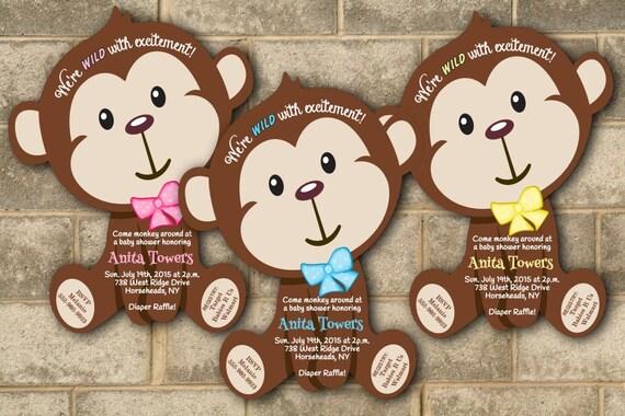 Baby Shower Girl Monkey Invitations ~ Monkey baby shower invitations jungle baby shower invitation