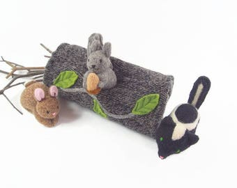 animal home, fabric log, woodland decor, waldorf play, stuffed toy, stuffed animal, natural toy, easter toy, handmade toy, eco friendly