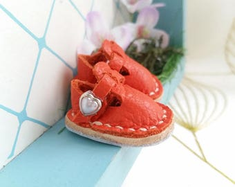 Mini Orange Leather T-Strap Shoes For Azone Pure Neemo M Size And Pukifee Neo Blythe Doll Hand Made By MizuSGarden
