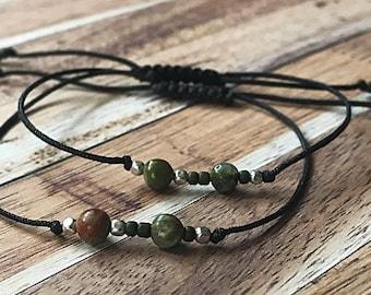 Morse Code Custom Beaded Adjustable Friendship Bracelet (Pair of 2)