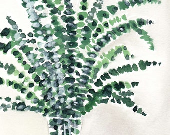 Eucalyptus Branches in a Vase Watercolor Painting, Wall Art, PRINTABLE ART