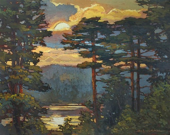 New - Pines Over The Lake - Giclee Fine Art PRINT of Original Painting matted 16x20 by Jan Schmuckal