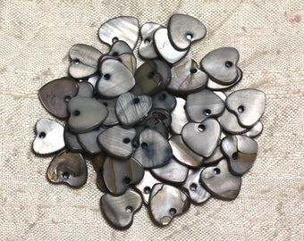 10pc - Pearls Pearl 11mm gray black 4558550019875 hearts charms