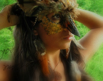 Great Horned Owl Masquerade Mask - FREE FEATHER Hair Extension
