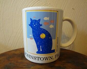 Blue Smiling Cat Johnston, PA Coffee/Tea Mug 1991