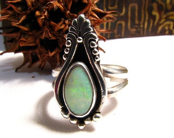 Handmade multi-color Solid Australian Opal Gemstone Ring Sterling OOAK, October birthstone