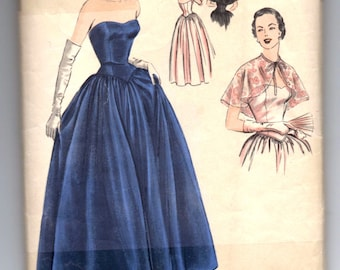 """1940's Vogue Special Design Evening Gown and Capelet Pattern - Bust 34"""" - No. S-4048"""