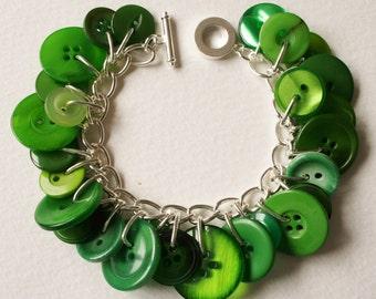 Button Bracelet Garden Greens