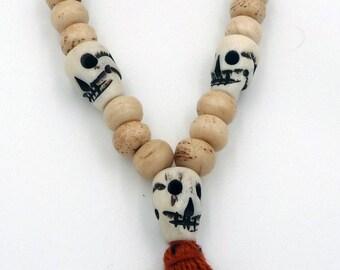 Beads Bracelet mala Tibetan yak bone skull Bone Carved Skull Head Tibetan Buddhist Prayer Beads Wrist Mala Bracelet