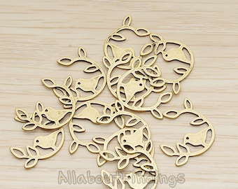 PDT962-AB // Antique Brass Plated Bird on the Leaf Branch Pendant, 2 Pc