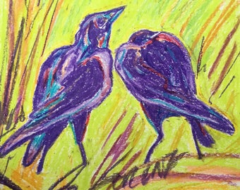 Original oil pastel drawing of two crows hunting through the grass. Signed by Chris Lorenz