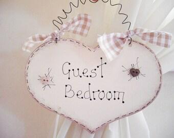 Shabby Chic Heart Door Sign Guest Bedroom Cream