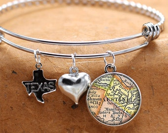Map Charm Bracelet Austin Texas State Of TX Bangle Cuff Bracelet Vintage Map Jewelry Stainless Steel Bracelet Gifts For Her