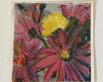 Zinnias • original 4x4 painting acrylic soft pastel