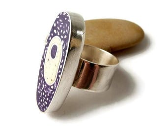 Ring Purple Silver, Chunky Ring Silver, Ring Oval Silver, Silver Boho Ring, Unique Purple Ring, Silver Wide Ring, Polymer Clay Ring