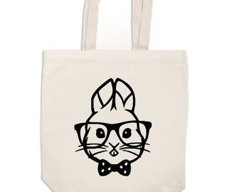 Hipster Easter Bunny Rabbit Canvas Tote Bag Market Pouch Grocery Reusable Jenuine Crafts