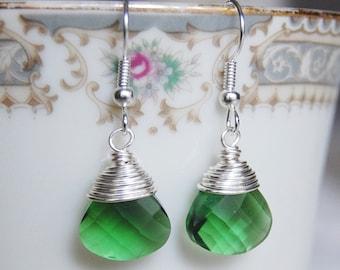 Green Earrings , Green Silver Earrings , Wire Wrapped Dangle Earrings , Bridesmaids Earrings, Teardrop Briolettes