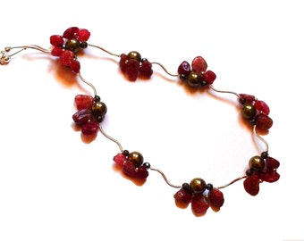 Elegant Delicate Gift, Beaded Necklace, Strawberry Quartz, Pyrite, Hematite, Red Gold Dark Grey, Sterling Silver Findings